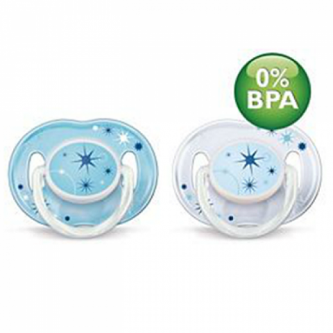 Avent Night Time Soother 0-6mnths 2pk